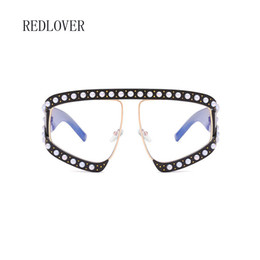 Wholesale Big Size Sunglasses - Brand designer Luxury women Sunglasses Pearl with Rhinestone Vintage Rivet Ladies Shade Big Frame Size grace classic Sunglasses Women female
