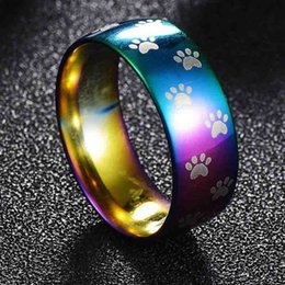 Wholesale Cat Bands - Vintage silver rainbow Cute Bear Paw Cat Claw ring 316L stainless steel Rings Mens Jewelry for Men lord Wedding Band male ring 080306