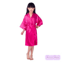 Wholesale Child Robes - 8Colors 2-10years Kids Satin Rayon Solid Kimono Robe Bathrobe Children Nightgown For Spa Party Wedding Birthday K0019