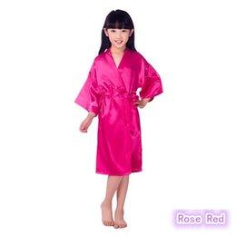 Wholesale Silk Long Kimonos - 8Colors 2-10years Kids Satin Rayon Solid Kimono Robe Bathrobe Children Nightgown For Spa Party Wedding Birthday K0019
