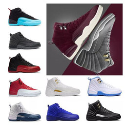 Wholesale Metallic Orange - 12 Bordeaux Dark Grey wool Basketball Shoes 12 Wings 12s the Master Sports Sneakers XII OVO Colorway:black metallic gold-white Men Athletics