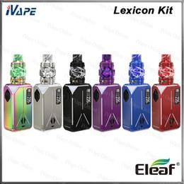 Mostrar kits on-line-Eleaf Lexicon Kit com ELLO Duro PMMA Atomizador 6.5 ml Lexicon TC Bateria Mod 235 W Dual 18650 Mod Light Show de Design 100% Original