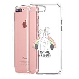 Wholesale iphone 5s cases silicone - Cute Unicorn Clear Soft Silicon Phone Case Back Cover for iPhone 5 5s 6 6S 6plus 7 7plus 8 8s plus X Samsung funda customize dropshipping