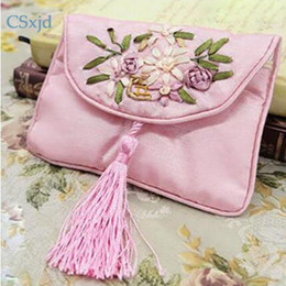 Wholesale Chinese Brocade Pouches - CSxjd Embroidered brocade tassel zipper jewelry bag Chinese Style Jewelry BagsHigh Quality Gift Pack