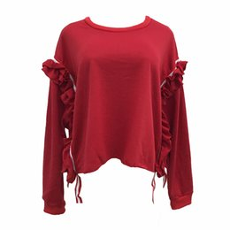 Wholesale Red Macrame - Lady casual loose fleece hoodie women fashion red black o-neck macrame lace long sleeve shirt sweater hoody