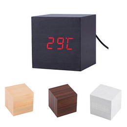 Wholesale Led Digital Thermometers - Modern Wooden Cube Digital LED Thermometer Timer Calendar Desk Alarm Clock