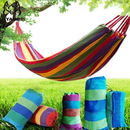 Wholesale outdoor hammock swings - Amazing Portable 120 kg Load-bearing Garden Hammock Hang Bed Travel Camping Swing Survival Outdoor Sleeping Bags Canvas Stripe 190*80 BBA327