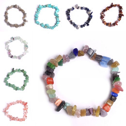 chip stone jewelry wholesale Promo Codes - Crushed Stone Bracelet Chip Gemstone Stretch Strand Bracelet Natural Crystal Irregular Handmade Beaded Jewelry 15 Styles Free DHL G848F