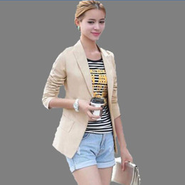 Wholesale Womens Long Blazers - 2017 new womens business suits spring and autumn all-match women blazers and jackets slim long-sleeve blazer women suit QH0124