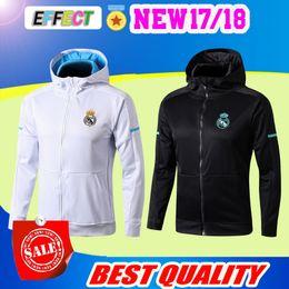 Wholesale Full Hats - Real Madrid long sleeve Jacket suit have hat Soccer Jersey 17 18 Real Madrid white Training uniform 2017 black football uniform jacket