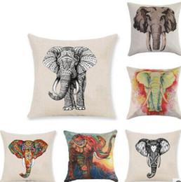Canada Housse de coussin décoratif animal sauvage 45x45CM (18x18IN) éléphant carré couverture taie d'oreiller coton taie d'oreiller en lin 1 pc de gros Offre