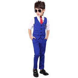 Wholesale children costumes boys - Boy Suit for Weddings Prom Party 2T-10Y Children Slim Fit Suit Sets Boys Tuxedo Formal Vest Pants Classic Costume Black