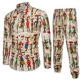 chemises bohème hommes Promotion 20 différents styles d'impression Floral 2pcs hommes ensembles fleur chemises + Vintage pantalons coton respirant ensembles de coton plage Bohème MQ790