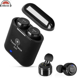 Wholesale mini i phones - OKCSC TWS X3T Touch Button Bluetooth Earphones Wireless with Mic Mini Headset w  Sport Charging Room for i`Phone Samsung Android
