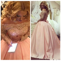 bow picture lady Coupons - Bateau Neck Long Sleeves Lace Appliques Prom Dresses Pink Beading Sequins With Bow Back Ladies Princess Special Occasion Party Gowns Custom