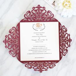 Wholesale elegant floral cut wedding invitations - Elegant burgundy laser cut invitation for wedding engagement sixteen celebration floral laser cutting personalized printing free ship