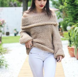 Wholesale white oversized sweater - 2018 new fashion women sexy off shoulder casual pullover sweater poncho loose knitted top Pullovers oversized knitwear jumper