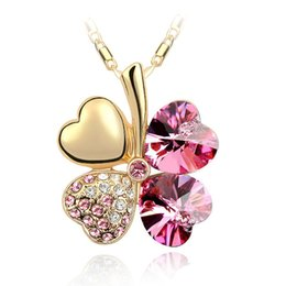 Wholesale wholesale angels - 7 Colors Clover Crystal Pendants 18K Golden Sliver Chain Swarovski Amethyst Jewelry Rhinestone Choker for Women