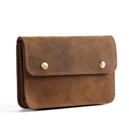 Bolsa de teléfono marrón online-Bolso de los hombres de cuero genuino bolso marrón bolsa de teléfono celular caballo loco de cuero paquete de la cintura gancho Dos Bolsillo con cremallera bolsa real Y005