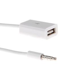 Usb male aux cable on-line-Linha de Transmissão de Dados Car Kit 3.5MM AUX macho para USB Feminino Converter Speaker Cable Car Audio Converter Linha