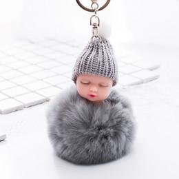 Argentina Bebé durmiendo Llavero Accesorios para muñecas Piel esponjosa Pompom Bola de piel de conejo Conejito llavero pompón Llavero Bolsa Accesorios para bebés Regalos Suministro