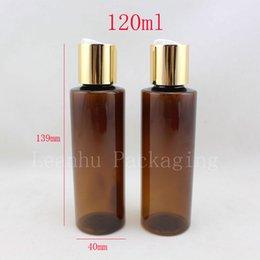 2019 shampooings bouchons Gros-50pc / lot 120ml bouteilles de shampoing en plastique brun vide avec des bouchons à vis d'or, 120g vide huiles essentielles emballage cosmétique gel douche shampooings bouchons pas cher