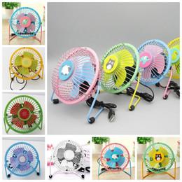 Wholesale small cartoon fans - USB fan mini household 4 inch cartoon small fan portable rechargeable mute summer artifact dormitory fan KKA5015
