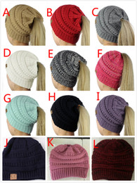 Wholesale Hockey Beanies - 12 Colors Women CC Beanies Ponytail Caps CC Knitted Beanie Fashion Girls Winter Warm Hat Back Hole Pony Tail Autumn Casual Beanies By DHL