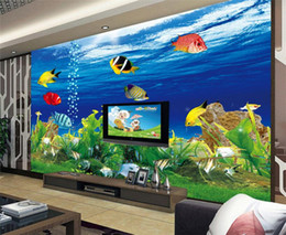 Papel de parede oceano para paredes on-line-Custom Background Wallpaper Foto 3D estereoscópico Ocean Aquarium Sofá TV Wall Decoração Sala Papel Mural Modern