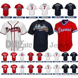 Wholesale Blue Anthony - Men's Atlanta Braves 5 Freddie Freeman Jersey 10 Chipper Jones 44 Hank Aaron 3 Dale Murphy 7 Dansby Swanson Jersey commemorative patch