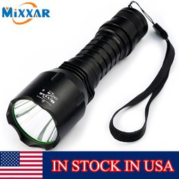 Wholesale Led Gun Torch - Stock In USA Mixxar C8 XM-L2 LED Flashlights Cold Natural White Lanterna Tactical LED Torch with Remote Switch Gun Mount for Hunting