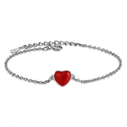 Wholesale dainty bracelets - Pretty Lover Bangles Party Fashion Bracelet For Women Dainty Gifts Chain with Red Love Heart Gem Sterling Silver Top Quality Wholesale