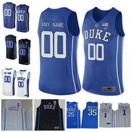 Wholesale Duke Blue - Custom Duke Blue Devils 12 Zion Williamson 5 RJ Barrett 2 Cam Reddish 3 Tre Jones Stitched Any Name Number College Basketball Jerseys