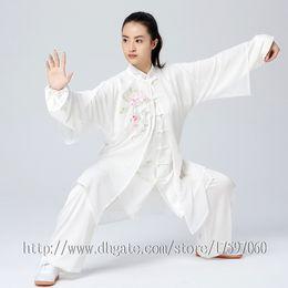 Chinês Tai chi vestuário Kungfu uniforme taijiquan terno Qigong equipar roupas de bordado para mulheres homens menino menina crianças adultos crianças de