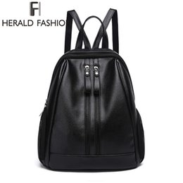 Wholesale Pink Leather Laptop Bag - Herald Fasion PU Leather Backpacks for Adolescent Girls Zipper Backpack Female Backpack to School Notebooks Laptop College bag