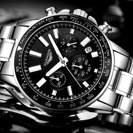 Guanqin orologi al quarzo online-relogio Masculino GUANQIN Mens Watches Top Business del quarzo dell'acciaio inossidabile della vigilanza degli uomini Sport orologio impermeabile