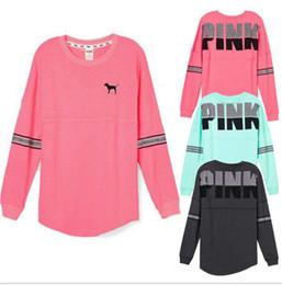 Wholesale Girls Knit Jacket - 2018 spring love PINK T shirt long sleeve Hoodies girls Pink letter Tshirts Top&Tee Letters Print design Sweatshirt O Neck Jacket pullover