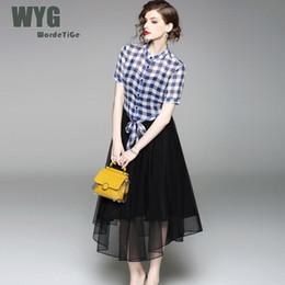 mujer 2 trajes moda Street blusa 2018 falda para Rebajas verano High piezas blanca negra WYG x1qzfB