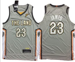 Wholesale Cheap Mens Basketball Jerseys - Cheap New 2017-18 #23 lebron james jerseys wholesale Mens Stitched The Land City Edition Gray jersey