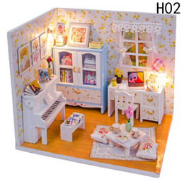 Wholesale 3d Wooden Puzzle House - Wholesale- Baby Room Home Decoration Doll House Model Furniture DIY 3D Puzzle Kit Wooden Paper Toy Valentine's Day gift