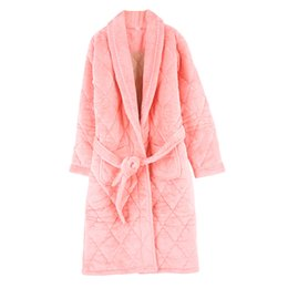 Wholesale ladies long winter robe - High Quality Winter Warm Long Sleeve Women Flannel Cotton Robes Pyjamas V-neck Cardigan Casual Big Size L-3XL Ladies Bathrobe