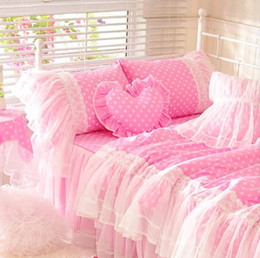 Wholesale Full Quilts - Cute pink polka dot bedding set teen girl,cotton twin full queen king single double home textile bedskirt pillowcase quilt cover