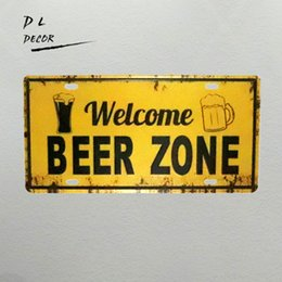 Wholesale Wall Stickers Welcome - DL-welcome beer zone beer poster License plate bar art vintage metal wall sticker