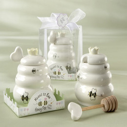 "Wholesale Bee Honey Pot - Wholesale- FREE SHIPPING+""Meant to Bee"" Ceramic Honey Pot with Wooden Dipper"