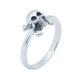 aac61334c07e53 cool sterling silver rings Canada - Free Shipping 925 Sterling Silver Skull  Bone Ring Fashion Jewelry