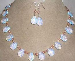 Серьги с бриллиантами онлайн-Розовый жемчуг / Шри-Ланка Лунный камень капли кулон ожерелье серьги комплект ювелирных изделий