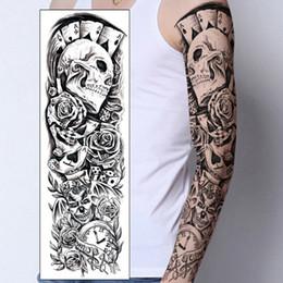 Gros tatouages de fleurs en Ligne-1 PC Temporaire Autocollant De Tatouage Crâne Clown Poker horloge Conception Pleine Fleur Bras Corps Art Beckham Grand Grand Faux Autocollant De Tatouage Nouveau