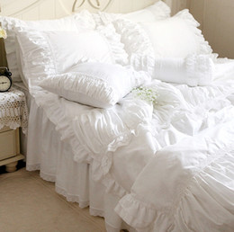 Wholesale Pink Lace Bedspreads - Wholesale-Luxury white lace ruffle bedding set,twin full queen king cotton girl,french princess wed home textile bedspread quilt cover