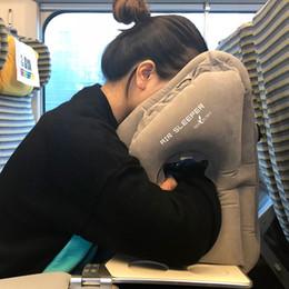 Almohadas para soporte de cuello online-Almohada de viaje Almohadillas inflables de Siesta Cojín suave para viaje Productos innovadores Portátil Apoyo para la espalda Cojín plegable para el cuello del soplo