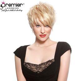 Argentina PRMIER LACE WIGS 613 Blonde Lace Wigs Pelucas hechas a máquina 100% brasileño Virgin Virgin Hair Corto Pixie Short para American cheap brazilian short haircuts Suministro